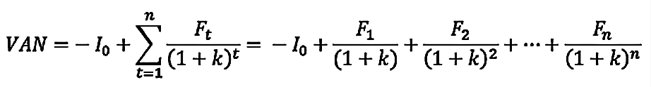 Valor presente neto, fórmula